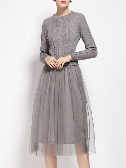 Grey Knit Gauze Combo Dress