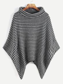 Contrast Striped Turtleneck Asymmetric Hem Poncho Coat