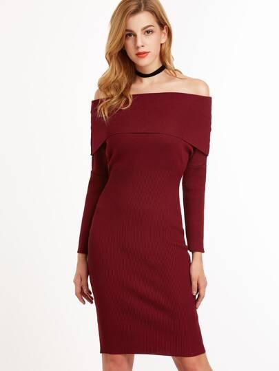 Burgundy Off The Shoulder Foldover Sweater Dress