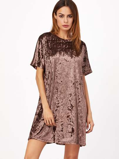 Brown Short Sleeve Velvet Shift Dress