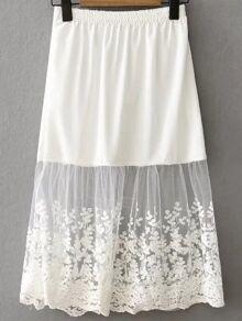 White Lace Insert Midi Skirt
