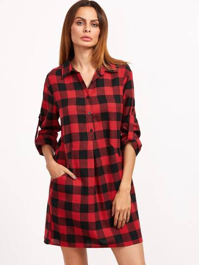 Black And Red Checkered Half Placket Roll Sleeve Shirt Dress