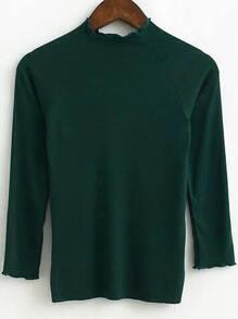 Dark Green Mock Neck Raglan Sleeve Knitwear