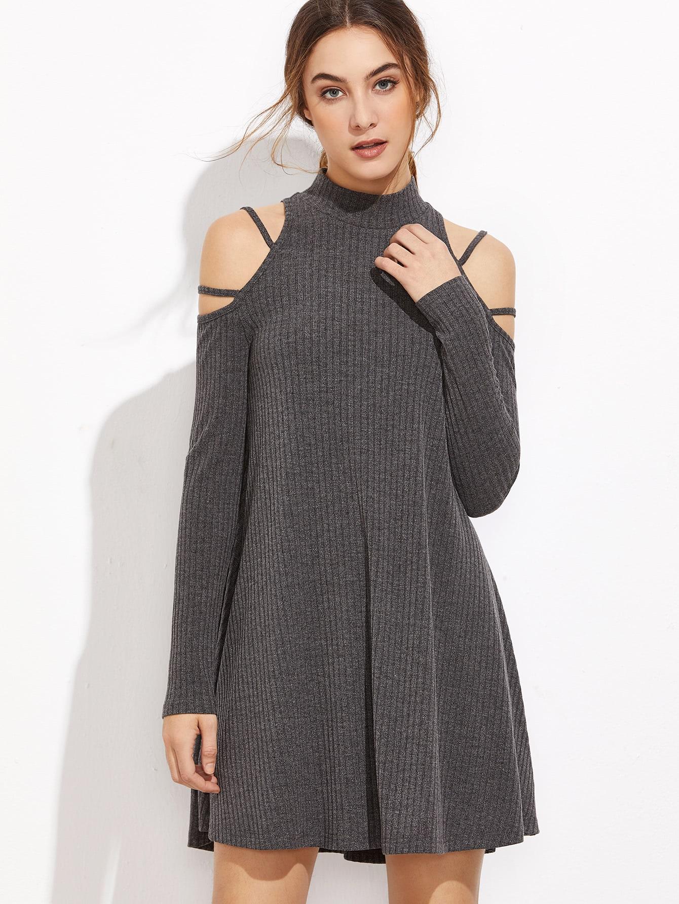 Ribbed Knit Strappy Cold Shoulder Dress dress161101704