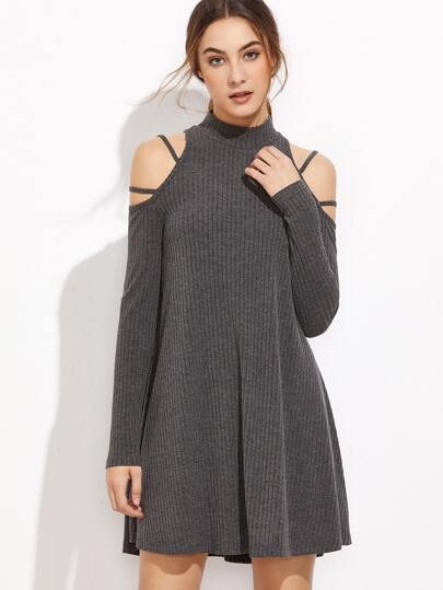 Ribbed Knit Strappy Cold Shoulder Dress