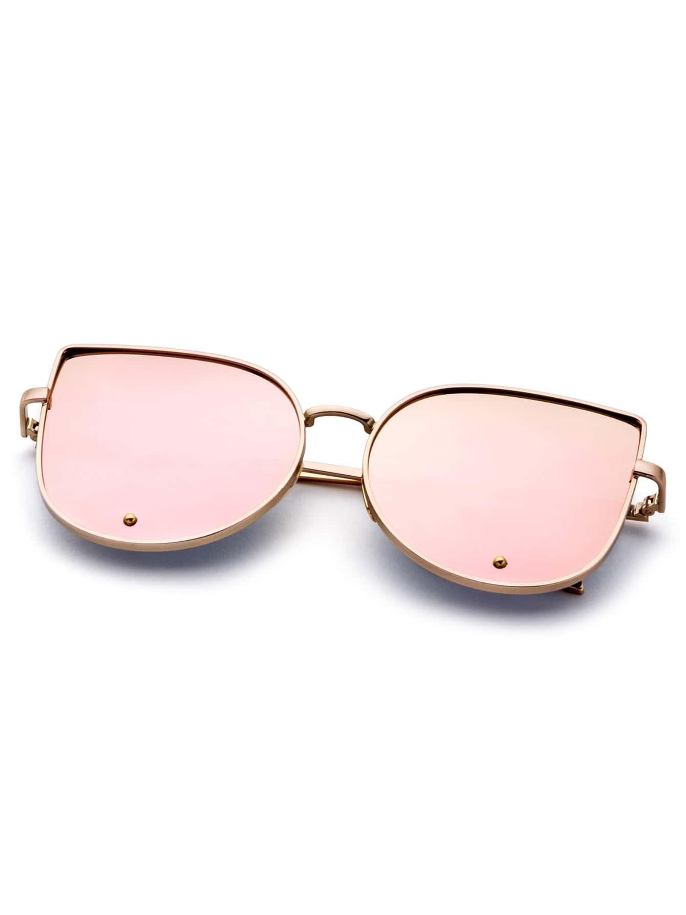 Gold Frame Cat Eye Sunglasses : Gold Frame Pink Cat Eye Stylish Sunglasses -SheIn(Sheinside)