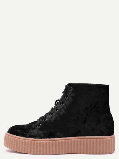 Black Velvet Lace Up Rubber Sole Booties