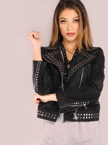 Faux Leather Studded Biker Jacket BLACK