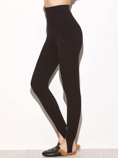 Black Ribbed Knit Stirrup Leggings