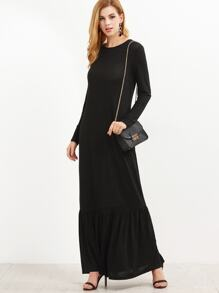 Black Long Sleeve Ruffle Hem Maxi Dress
