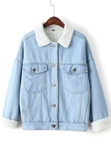 Light Blue Denim Jacket With Faux Shearling Lining