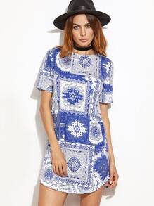Blue And White Vintage Patchwork Print Dress