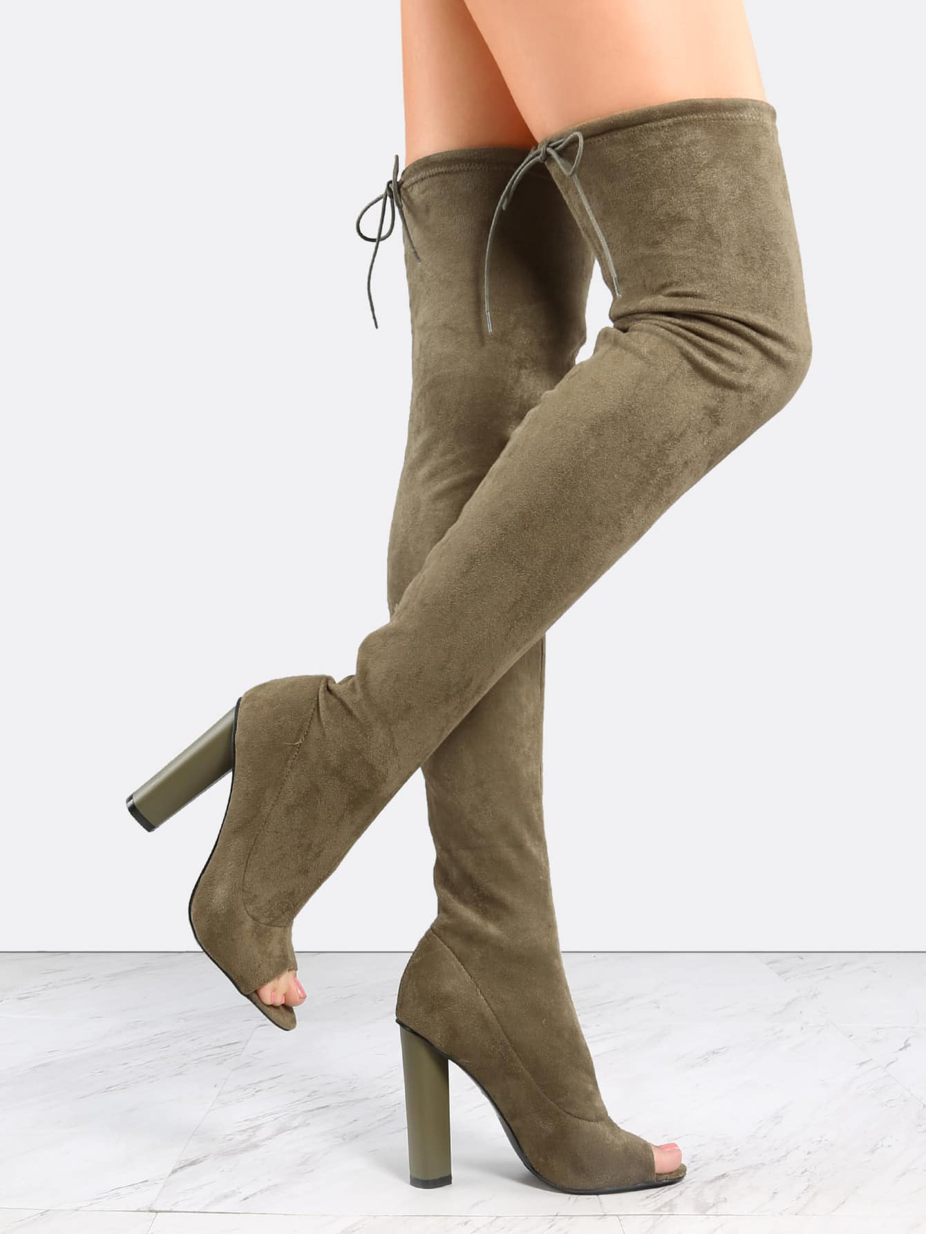 Olive Green Suede Peep Toe Chunky Heel