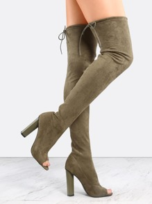 Olive Green Suede Peep Toe Chunky Heel Over The Knee Boots