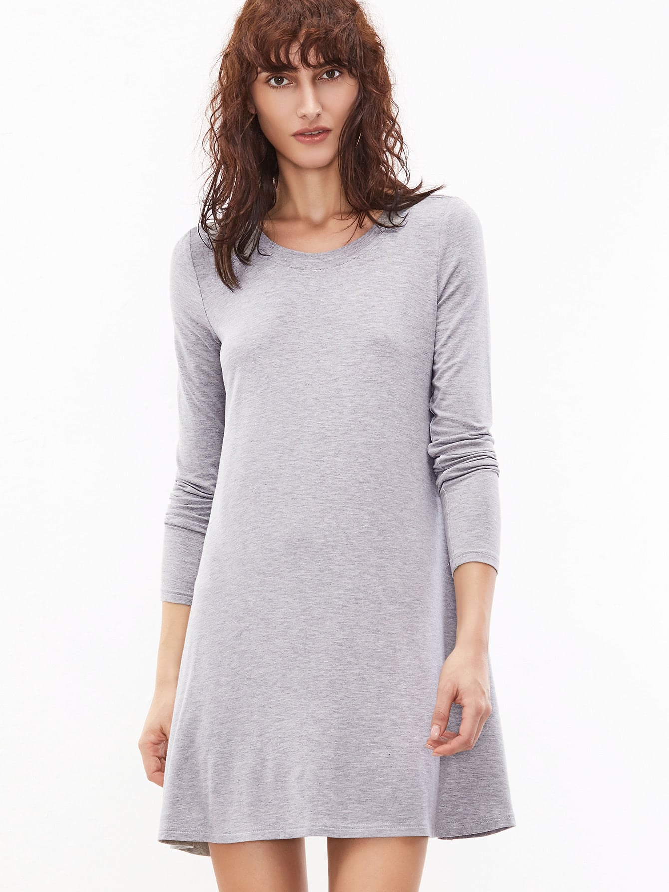 Heather Grey Long Sleeve T-shirt Dress dress161129703