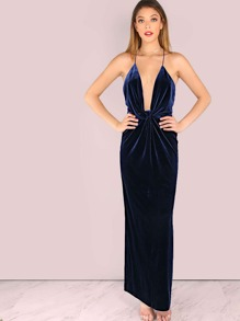Deep V Low Back Knotted Velvet Maxi Dress NAVY