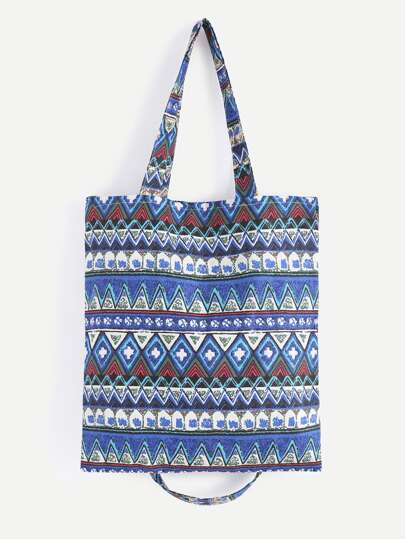 Blue Tribal Print Double Layer Tote Bag With Convertible Strap
