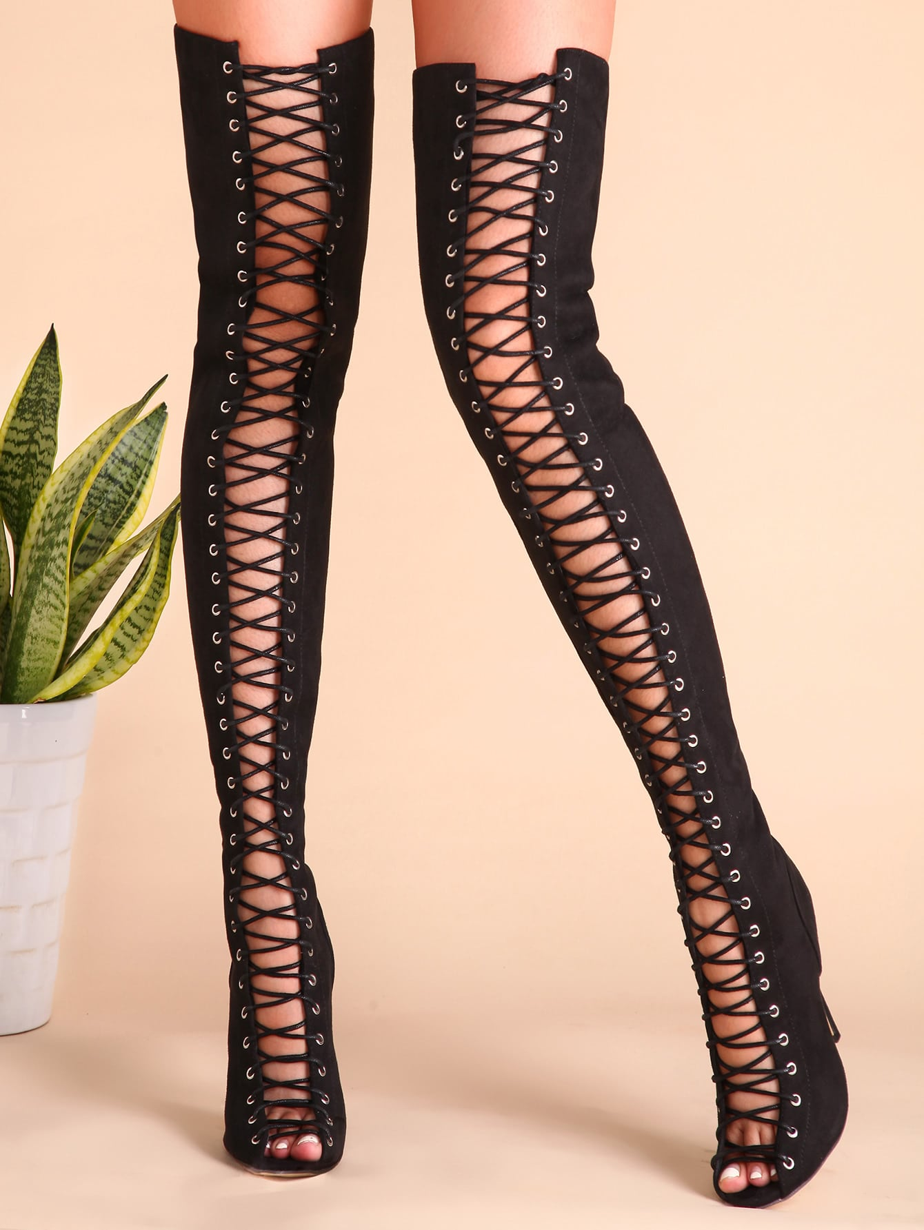 Black Sexy Criss Cross Lace Up Suede Thigh High Boots -SheIn ...
