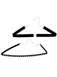 Black Band Metal Trim Studded Choker Necklace Set