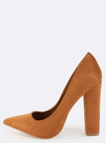 Faux Suede Pointed Pumps MOCHA