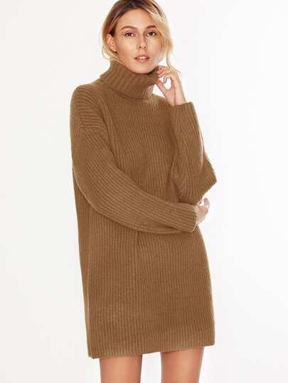 Camel Turtleneck Drop Shoulder Sweater Dress
