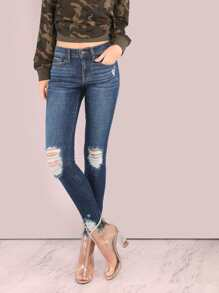 Dark Washed Mid Rise Distressed Skinny Jeans DENIM