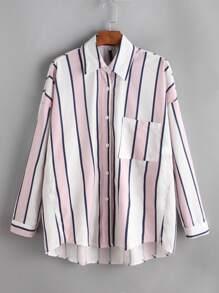 Contrast Striped Drop Shoulder Pocket Shirt