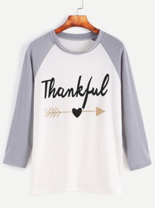 Letter Print Dip Hem Contrast Raglan Sleeve T-shirt