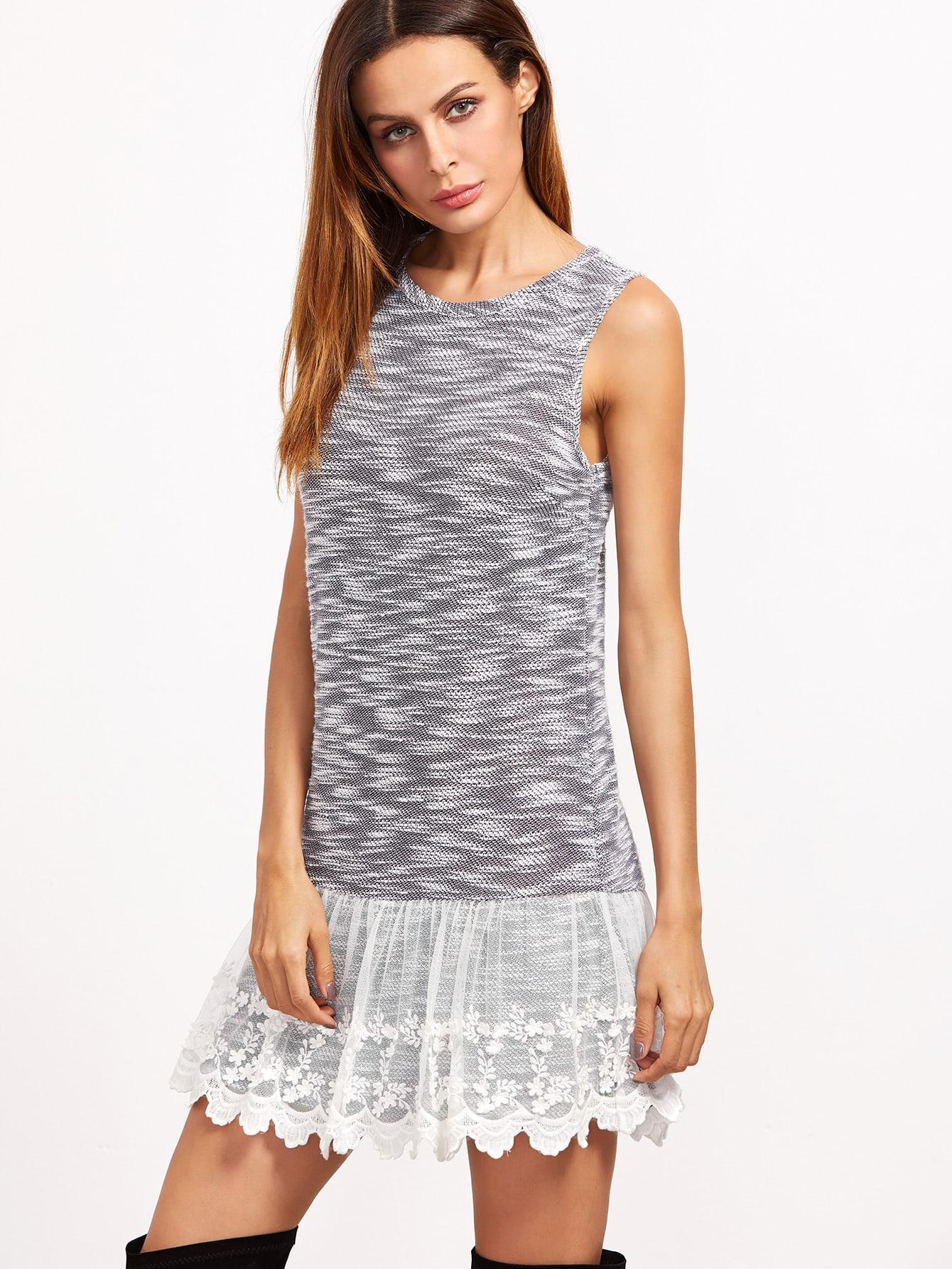 Grey Marled Contrast Lace Trim Tank Dress dress161123719