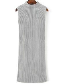 Grey Mock Neck Sleeveless Side Slit Knit Dress