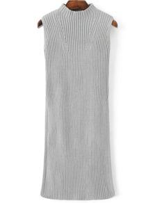 Grey Mock Neck Sleeveless Side Slit Knit Dress