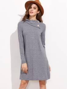 Light Grey Buttoned Turtleneck Dress
