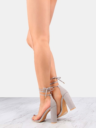 Clear Strap Lace Up Chunky Heels GREY -SheIn(Sheinside)