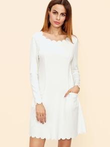 White Scallop Trim Pocket Front A Line Dress