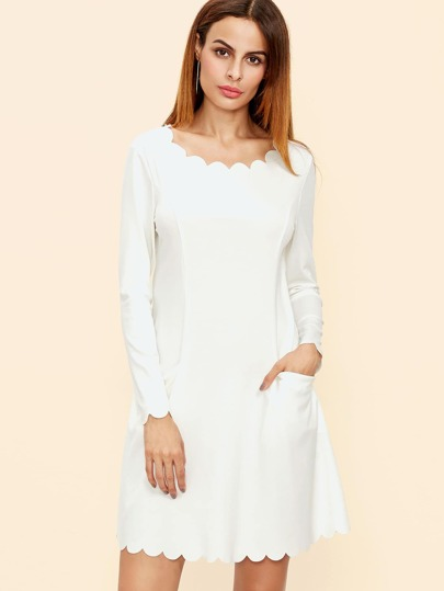 White Scallop Trim Pocket Front A Line Dress