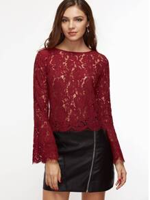 Burgundy Bell Sleeve Scallop Hem Floral Lace Top