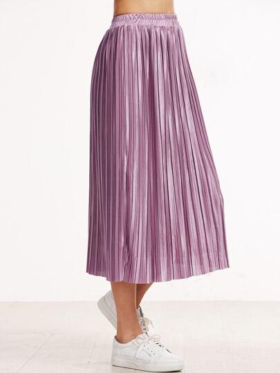 Pink Elastic Waist Pleated Skirt