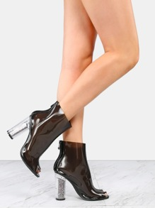 Peep Toe Clear Glitter Ankle Boots BLACK