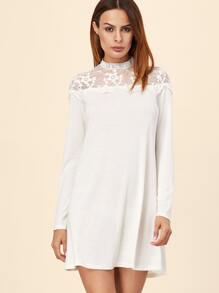 White Embroidered Mesh Yoke Bell Sleeve A Line Dress