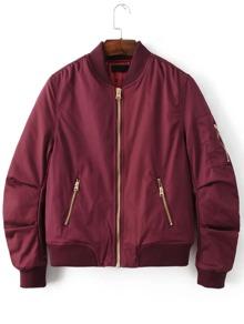 Burgundy Stand Collar Zipper Pocket Padded Jacket