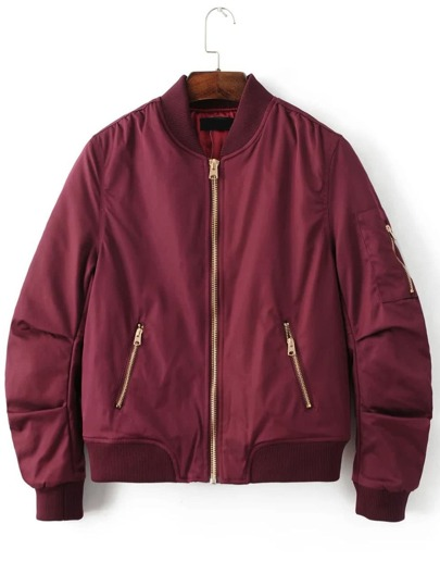 Burgundy Stand Collar Zipper Pocket Padded Jacket