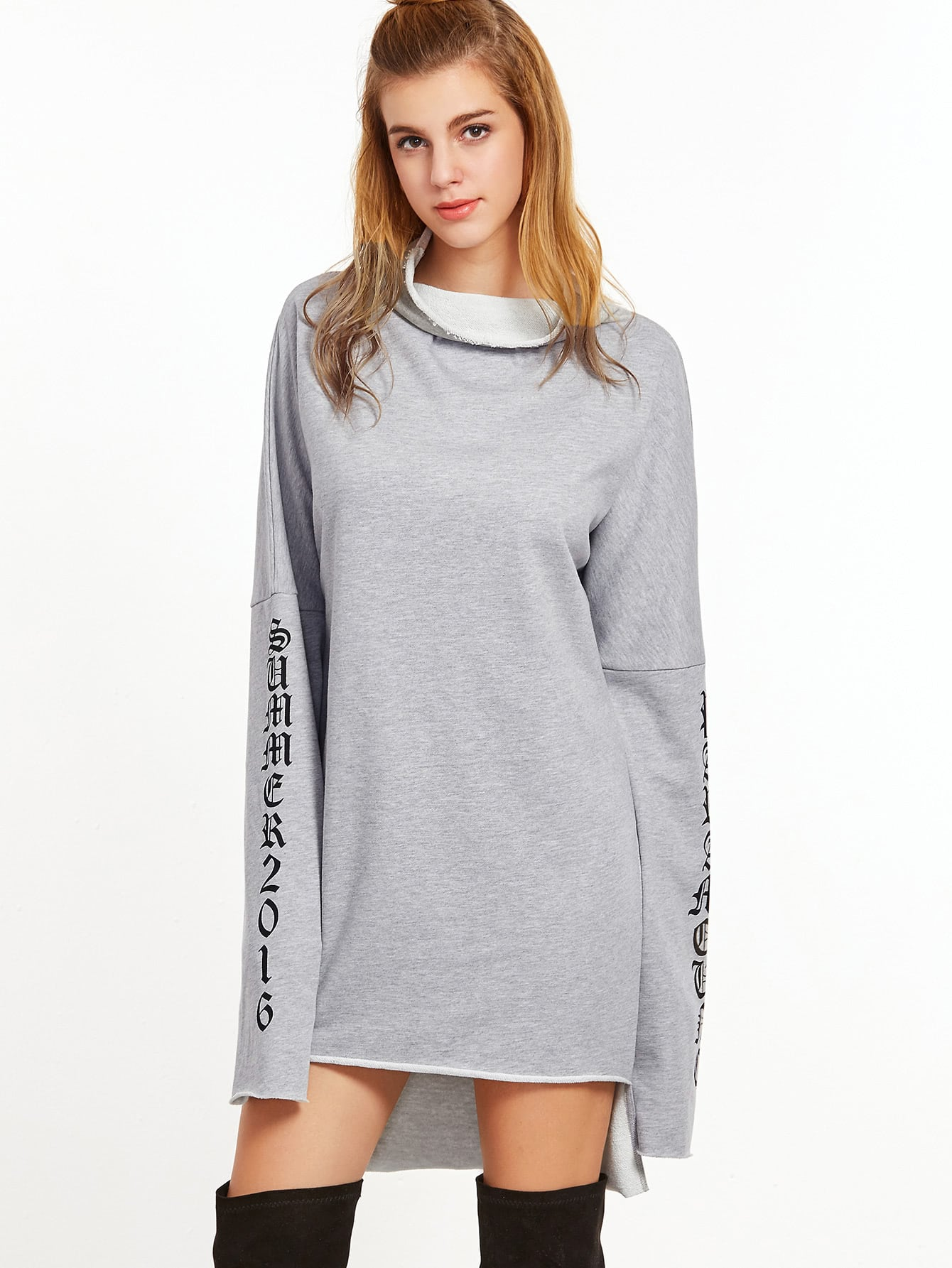 Sweatshirt kleid buchstaben druck umlegekragen vorne kurz - Sweatshirt kleid lang ...