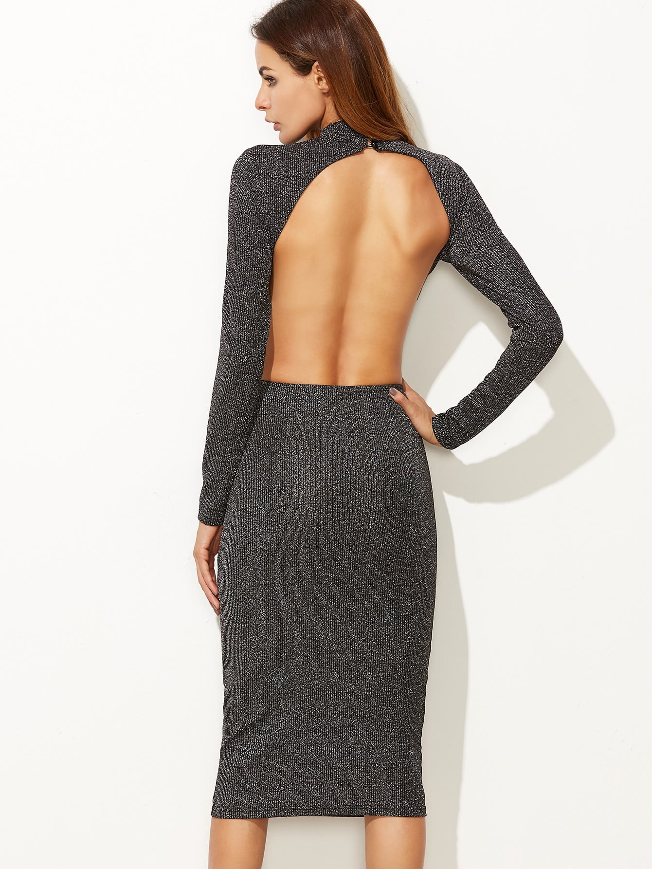 Grey Ribbed Knit Open Back Sparkle Dress dress161101708