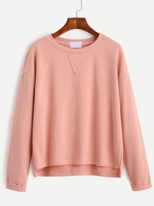 Pink Drop Shoulder High Low Cuffed T-shirt