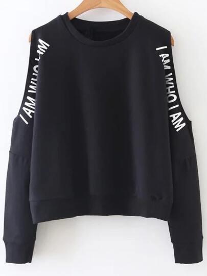Black Letter Print Open Shoulder Sweatshirt