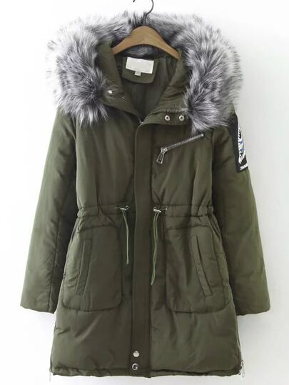Army Green Drawstring Waist Hooded Padded Coat With Faux Fur
