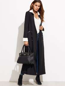 Color Block Double Buttons Long Outerwear