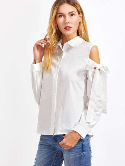 White Cutout Tie Shoulder Blouse