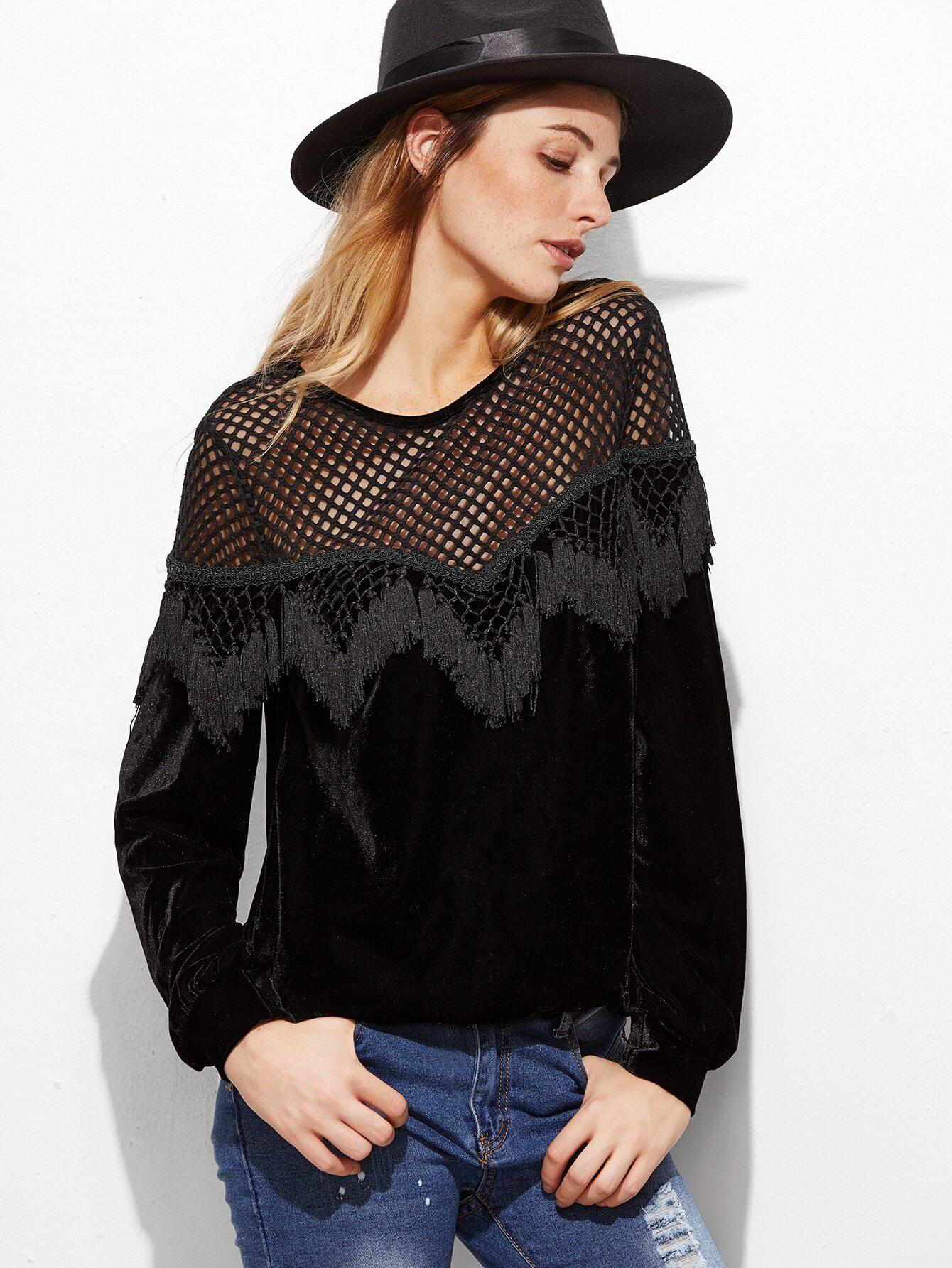 Black Hollow Out Shoulder Marcrame Fringe Trim Velvet Sweatshirt