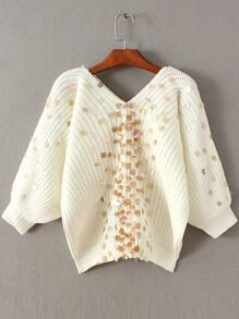 White Sequin Detail V Neck Lantern Sleeve Sweater